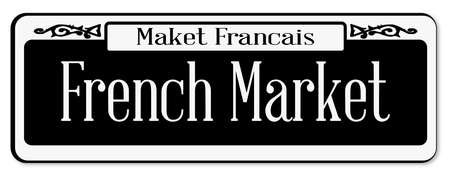 francais: New Orleans street sign of Maket Francais over a white background