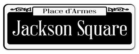 La Nouvelle-Orléans signe de la rue de la Place d'Armes sur un fond blanc Banque d'images - 46048110