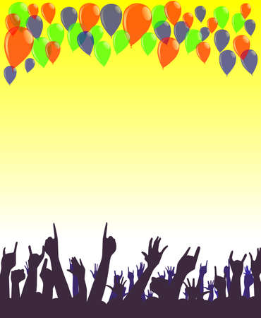 partying: Hands reaching upwards towards a group of party balloons