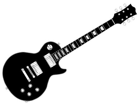 gibson: The definitive rock and roll guitar isolated over a white background. Illustration