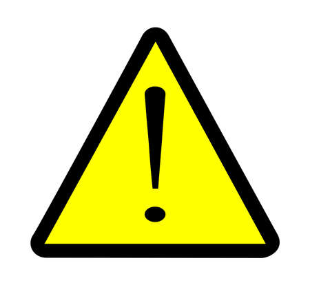 Yellow triangle warning sign with exclamation mark over white