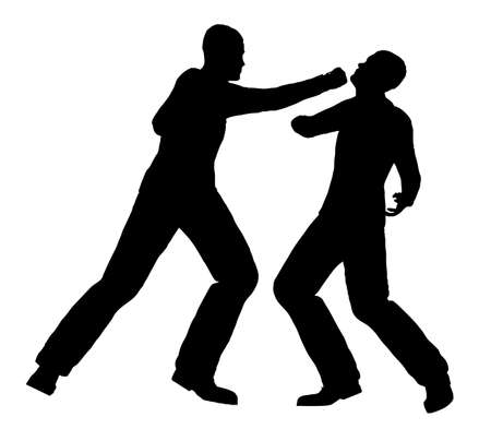 ko: Silhouette of two men fighting over a white background Illustration