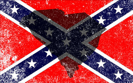 civil war: The flag of the confederates during the American Civil War with South Carolina map silhouette overlay
