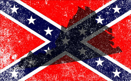 civil: The flag of the confederates during the American Civil War with Virginia map silhouette overlay Illustration