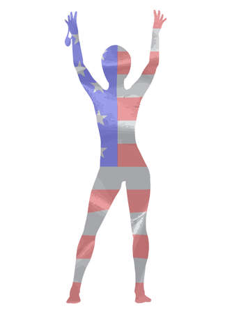 victor: A female runner holding up her winner medal in stars and stripes silhouette over a white background
