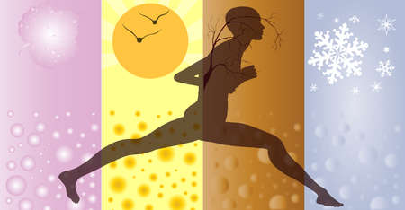 depictions: A female runner running through depictions of the four seasons