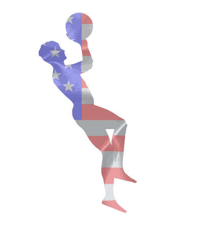 atma: Silhouette of a basketball player throwing the ball against a USA flag and all isolated on a white background