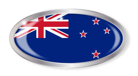new zealand flag: Oval silver button with the New Zealand flag isolated on a white background