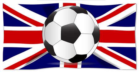 白地に分離されたユニオン ジャックの旗上の典型的なサッカー。