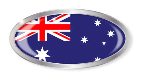 oz: Oval silver button with the Australian flag isolated on a white background Illustration
