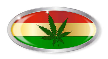 rastafarian: Oval silver button with the Rastafarian flag and hemp leaf isolated on a white background Illustration
