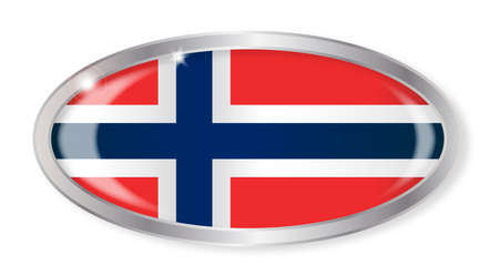 norwegian flag: Oval silver button with the Norwegian flag isolated on a white background