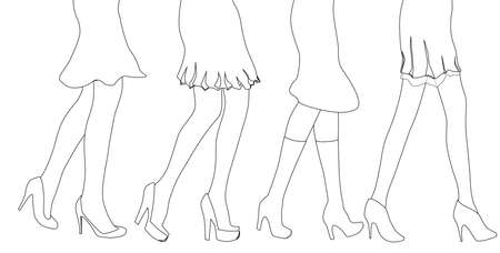 heals: A collection of female legs walkig over a white background Illustration