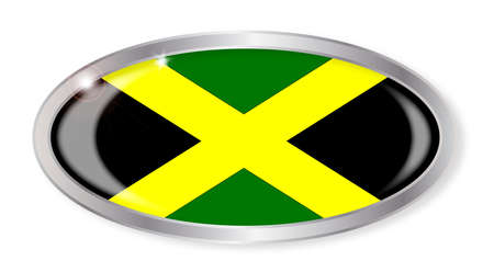 jamaican flag: Oval silver button with the Jamaican flag isolated on a white background