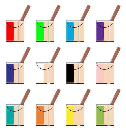 paint tin: Collection of various coloured paint tins with a run and drip mark down the side of the tin.