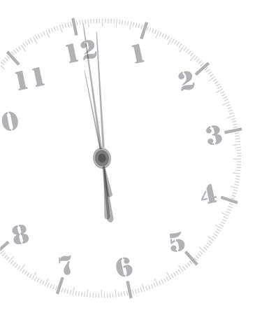 A clock showing midnight over a white background