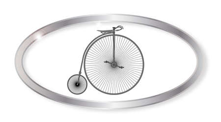 penny: Oval silver button with a penny farthing bicycle isolated on a white background