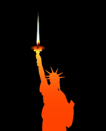 iconic architecture: The Statue of Liberty with candle flame from torch