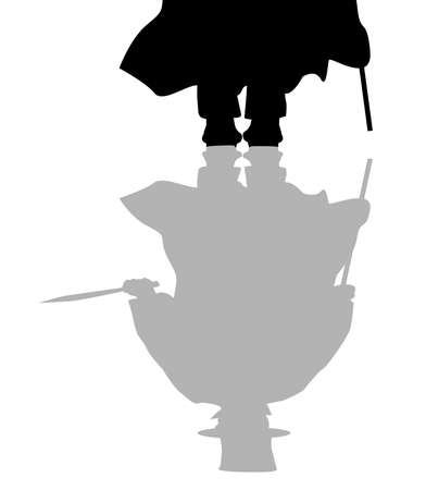 cloak and dagger: the reflection of Jack the Ripper on a white background