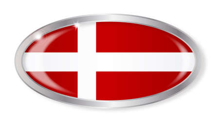 danish flag: Oval silver button with the Danish flag isolated on a white background