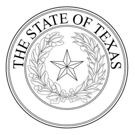 state: The seal of the United Steas of American state TEXAS black line drawing isolated on a white background.