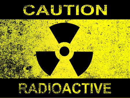 radiation sign: A Caution Radiation sign in yellow and black with grunge Illustration