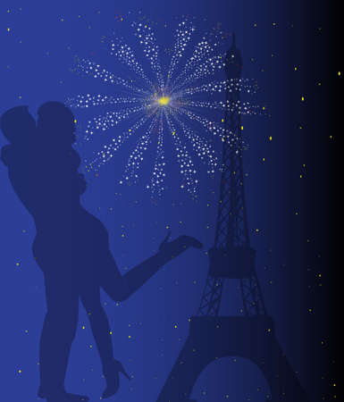 lovers kissing: Paris at night with the Eiffel Tower and a couple kissing with firework explosion