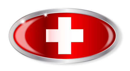 swiss flag: Oval silver button with the Swiss flag isolated on a white background
