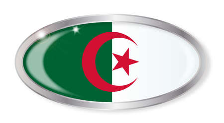 algerian flag: Oval silver button with the Algerian flag isolated on a white background