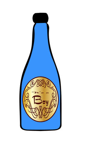legend: A congratulations bottle of blue champagne on a white background with the legend Its a boy