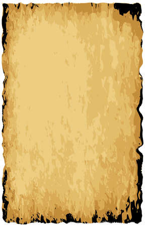 writing materials: A parchment background of browns shades and black over a white background Illustration