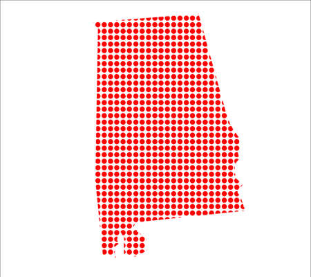 perforation: A map of the state of Alabama created from a series of red dots over a white background