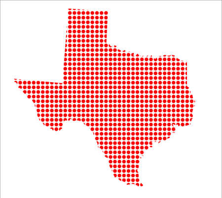 perforation: A map of the state of Texas created from a series of red dots over a white background