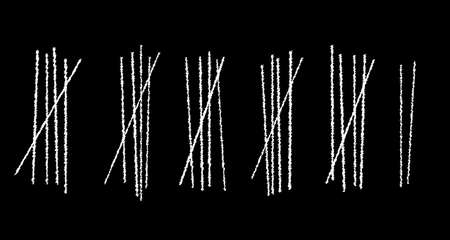tally: Blackboard with several white chalk tally marks Illustration