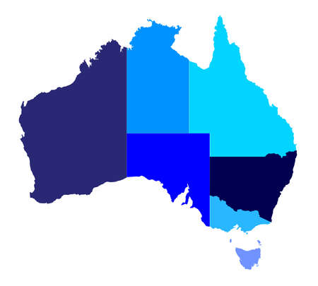 oz: Silhouette map of the Australian states over a white background