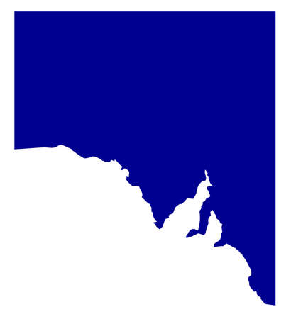 aussie: Silhouette map of the South Australia states over a white background