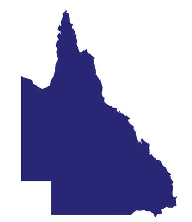 Silhouette map of the Australian state of Queensland over a white background Illustration