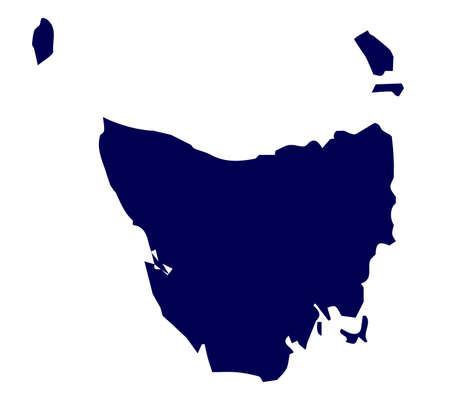 tasmania: Silhouette map of the Australian state of Tasmania over a white background