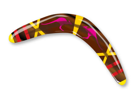 polished wood: A typical Aboriginal boomerang of polished wood with decorations over a white background Illustration