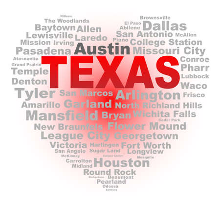 major: A cartoon heart shape with the text TEXAS and the names of the major texas cities over a white background