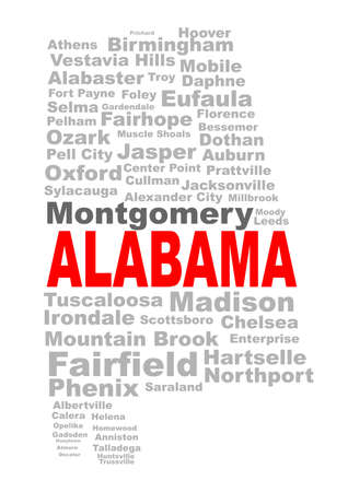 major: State silhouette  shape with the text ALABAMA and the names of the major cities over a white background