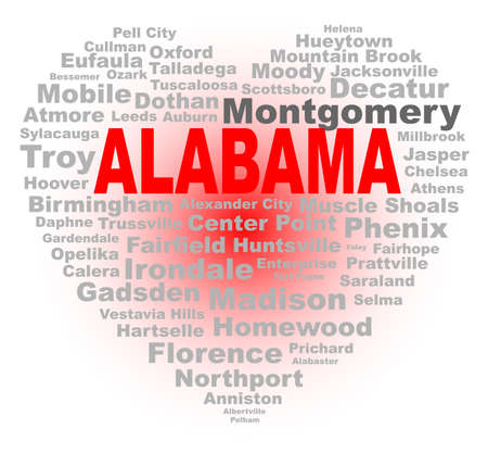 major: A cartoon heart shape with the text ALABAMA and the names of the major texas cities over a white background Illustration