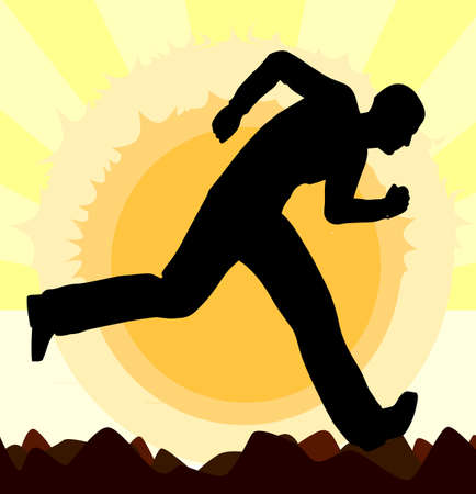 glaring: A man running set against a glaring sun