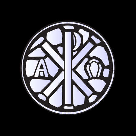 chi: An alpha omega symbol glass window over a black background Illustration