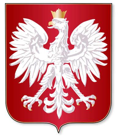 bandera de polonia: La cresta de esmalte sobre un escudo rojo sobre un fondo blanco