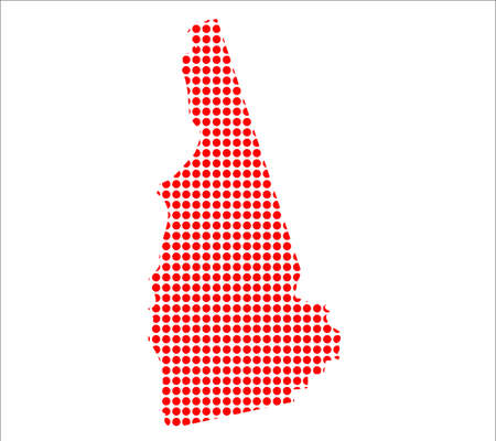 perforation: A map of the state of New Hampshire created from a series of red dots over a white background Illustration