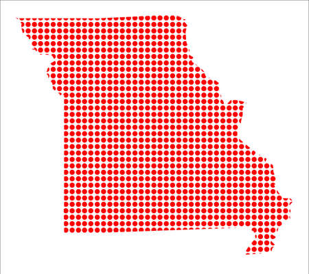 perforation: A map of the state of Missouri created from a series of red dots over a white background