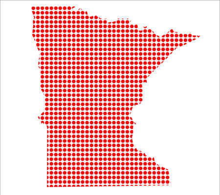 perforation: A map of the state of Minnesota created from a series of red dots over a white background
