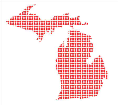 perforation: A map of the state of Michigan created from a series of red dots over a white background