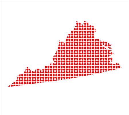 created: A map of the state of Virginia created from a series of red dots over a white background